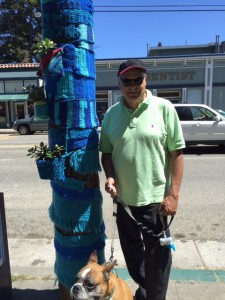 Yarn Bombing with Bob and his dog Bruno.